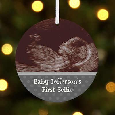 Baby's First Selfie Photo Round Ornament