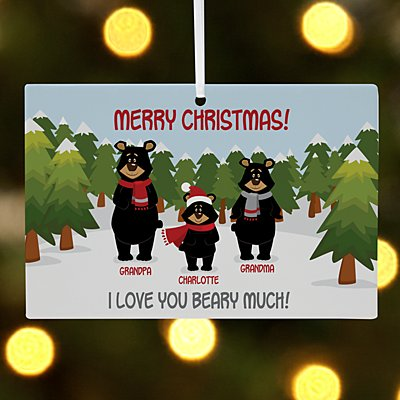 Beary Christmas Family Rectangle Ornament