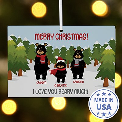 Beary Christmas Family Wooden Rectangle Ornament