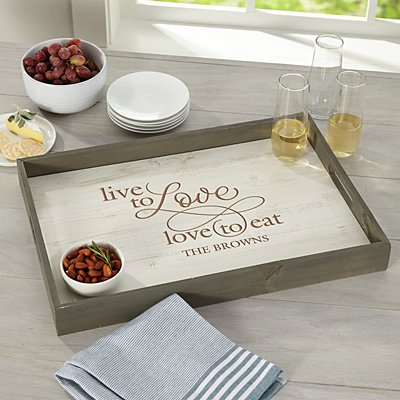 Live to Love Rustic Wood Serving Tray