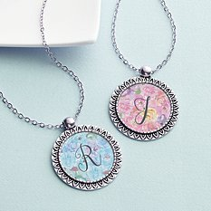 Watercolor Floral Initial Necklace
