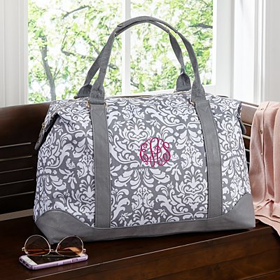 Grey Damask Embroidered Weekender Bag