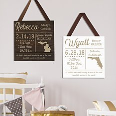 All About Our Baby Square Wood Plaque