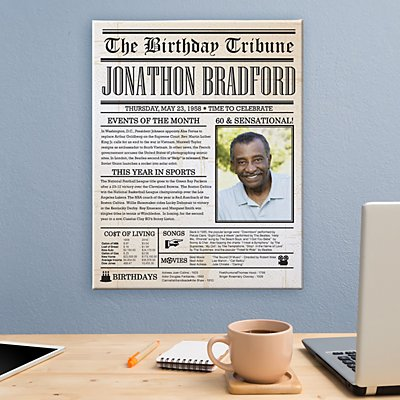Birthday News Photo Canvas