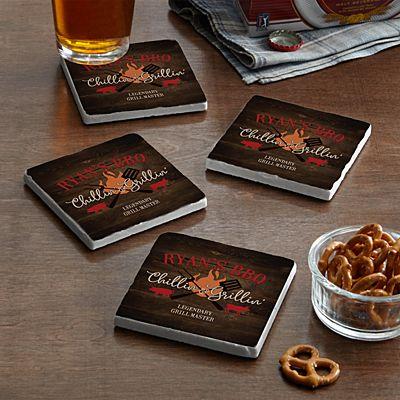 Chillin' & Grillin' Marble Coasters