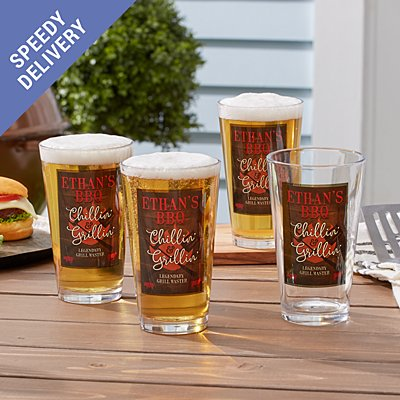 Chillin' & Grillin' Pint Beer Glass