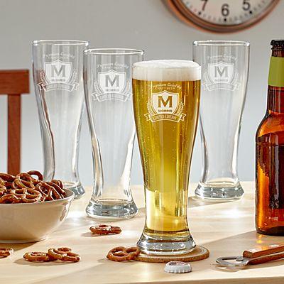 Decorative Label Pilsner Beer Glass