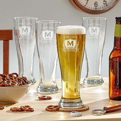 Decorative Label Pilsner Beer Glass