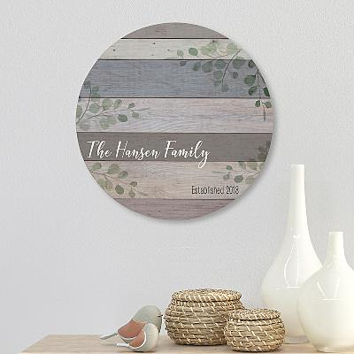 Family Name Circle Wood Plaque