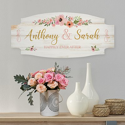 Floral Love Arched Wood Sign