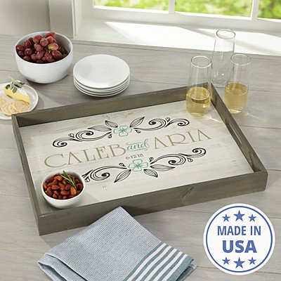 Rustic Elegance Wood Serving Tray