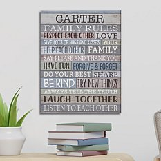 Rustic Family Rules Canvas