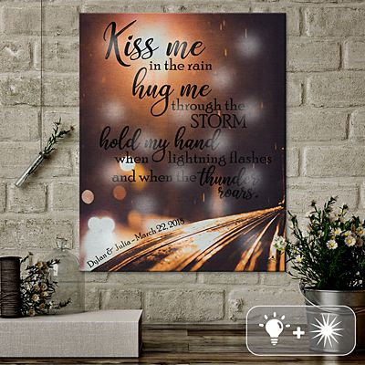 TwinkleBright® LED Kiss Me in the Rain Canvas