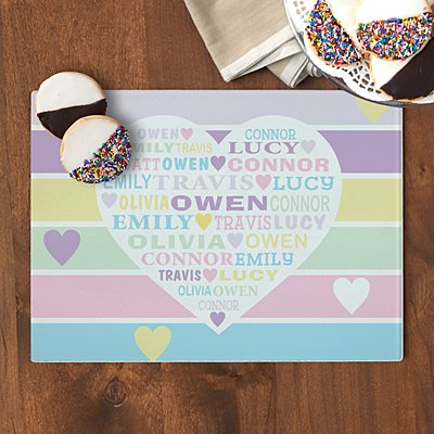 Pastel Heart Full of Love Glass Cutting Board