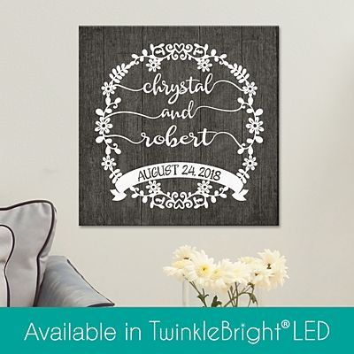 Scripted Floral Wreath Canvas