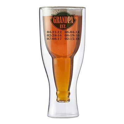 Established Bottoms Up Beer Glass - Green