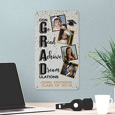 Congrats Grad! Photo Metal Sign