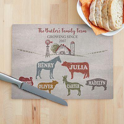 Fun Family Farm Glass Cutting Board