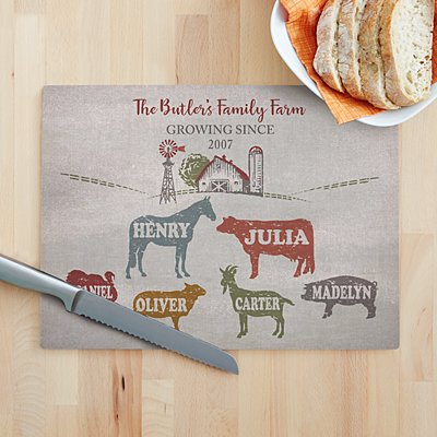 Fun Family Farm Glass Cutting Board