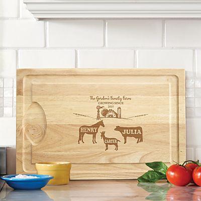 Fun Family Farm Wood Cutting Board