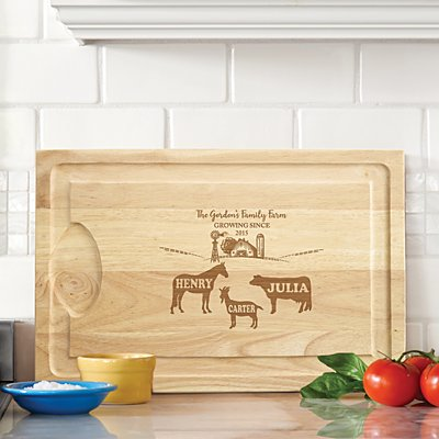 Fun Family Farm Wood Cutting Board