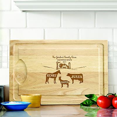 Fun Family Farm Wooden Cutting Board