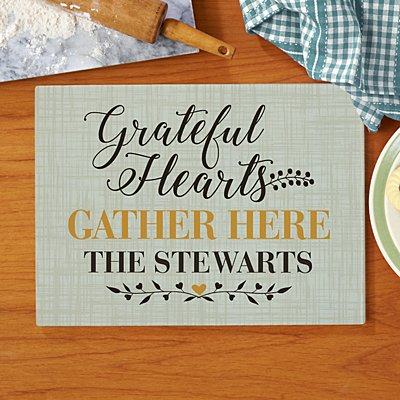 Grateful Hearts Glass Cutting Board
