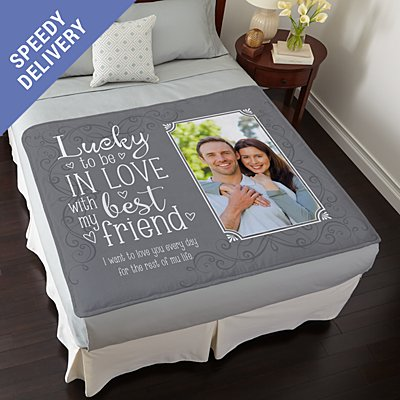 Lucky In Love Photo Plush Blanket