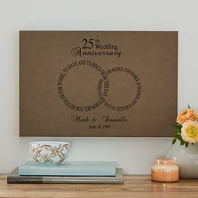 Rings of Love Anniversary Leather Wall Art