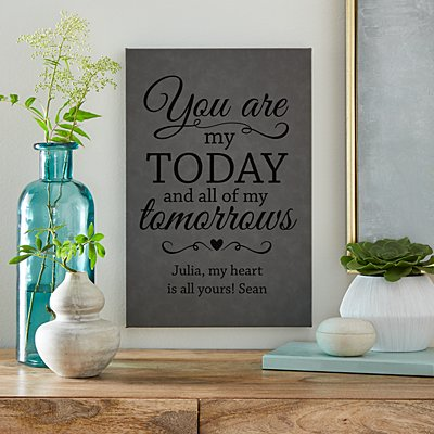 You are My All Leather Wall Art - Grey