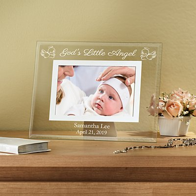 Baptismal Etched Glass Frame