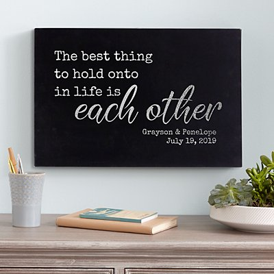 Hold On To Each Other Leather Wall Art