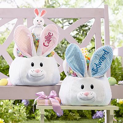 Fluffy Bunny Plush Easter Basket