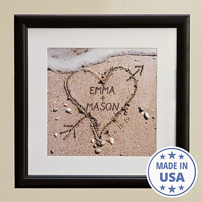 Heart in Sand Framed Print