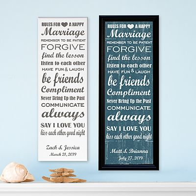 Rules to a Happy Marriage Canvas