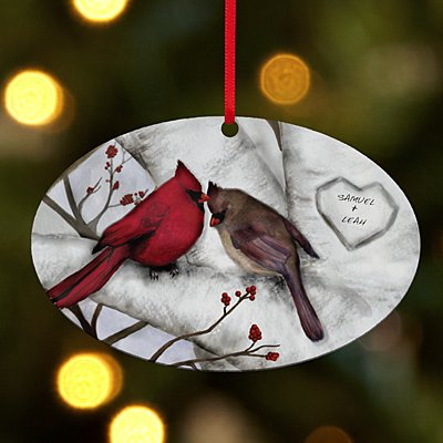 Loving Cardinals Couple Oval Ornament