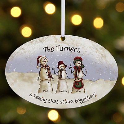 Snowman Stick Family Oval Bauble