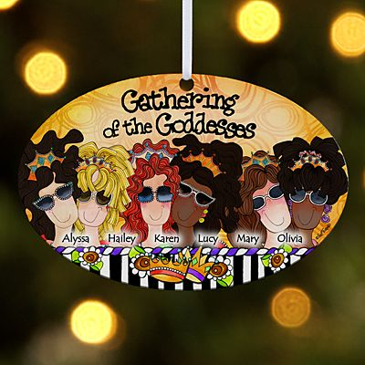 Gathering of the Goddesses Oval Ornament by Suzy Toronto