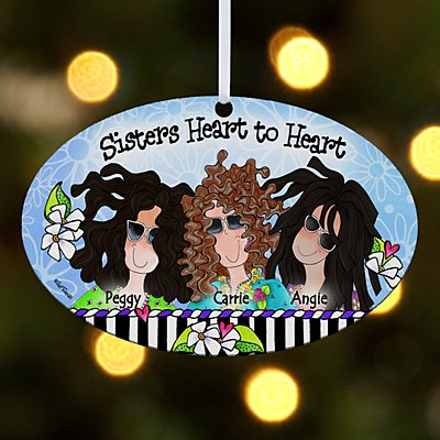 Sisters Heart to Heart Oval Bauble by Suzy Toronto