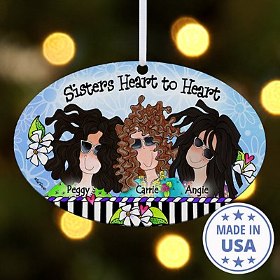 Sisters Heart to Heart Oval Ornament by Suzy Toronto