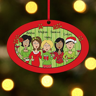 Tis The Season With The Girls Oval Bauble