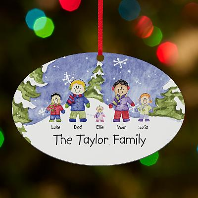 Family of Winter Characters Oval Bauble