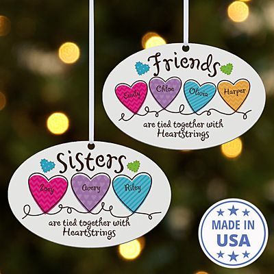 Sisters and Friends Heartstrings Oval Ornament