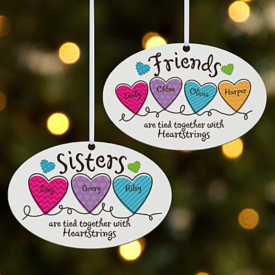 Sisters and Friends Heartstrings Oval Bauble