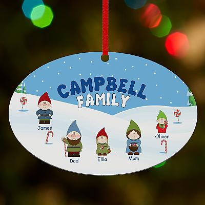 Gnome Family Oval Bauble