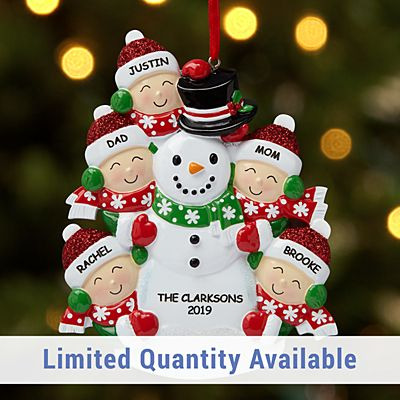Building a Snowman Family Ornament