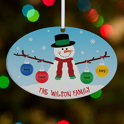 Whimsical Snowman Large Oval Ornament