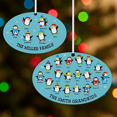 Playful Penguins Oval Bauble