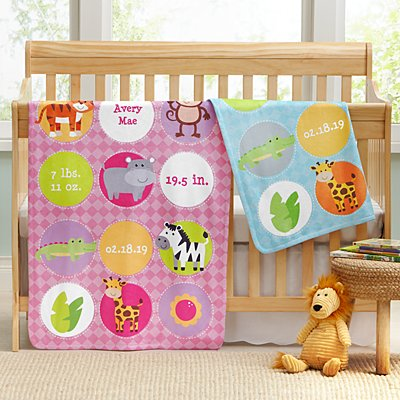 Animals Birth Announcement Blanket