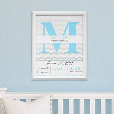 Chevron Birth Details Framed Print